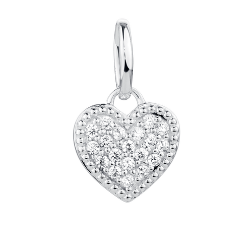 Cubic Zirconia & Sterling Silver Heart Coin Pendant Accessory