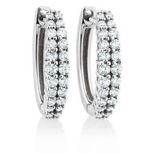 Huggie Earrings with 3/8 Carat TW of Diamonds in 10kt White Gold