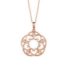Pendant with Diamonds in 10ct Rose Gold