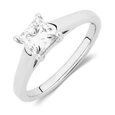 Ideal Cut Solitaire Engagement Ring with a 0.96 Carat Diamond in Platinum