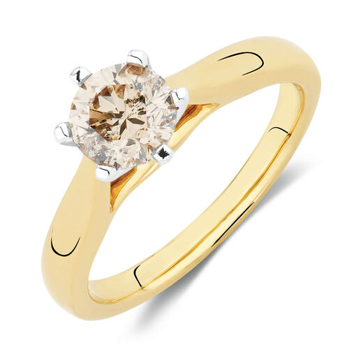 Solitaire Engagement Ring with 1 Carat Diamonds in 14ct Yellow & White Gold