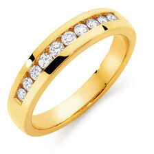 Men's Wedding Band with 1/2 Carat TW of Diamonds in 10ct Yellow Gold