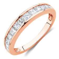 Wedding Band with 1 Carat TW of Diamonds in 10ct Rose Gold