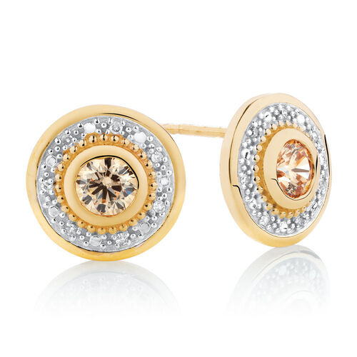 Stud Earrings with Champage Cubic Zirconia in 10ct Yellow Gold
