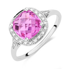 Online Exclusive - Ring with Created Pink Sapphire & Diamonds in 10ct White Gold