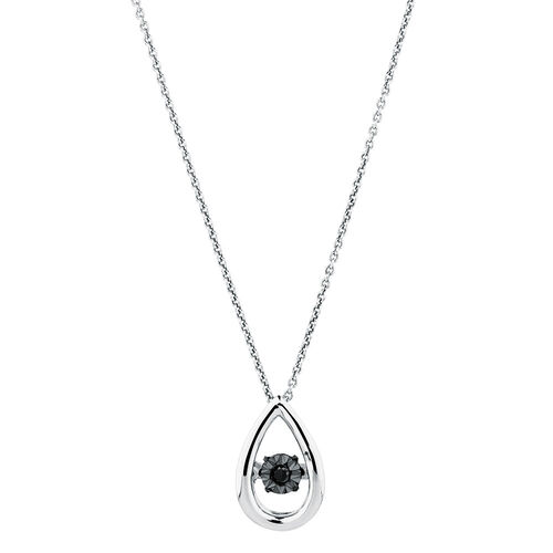 Everlight Pendant with an Enhanced Black Diamond in Sterling Silver