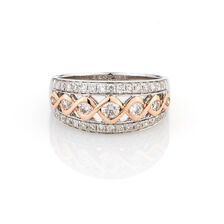 Online Exclusive - Ring with 3/4 Carat TW of Diamonds in 10kt White & Rose Gold