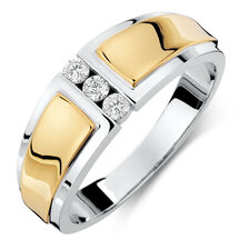 Men's Ring with 0.21 Carat TW of Diamonds in 10ct Yellow & White Gold