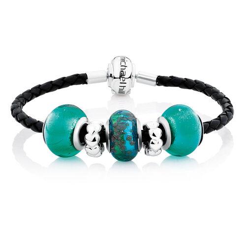 Green Glass & Black Leather Starter Charm Bracelet