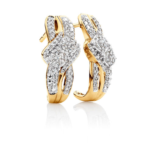 By My Side Cluster Earrings with 1/3 Carat TW of Diamonds in 10ct Yellow Gold