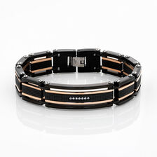 Online Exclusive - Men's Bracelet with Cubic Zirconia in Rose & Black Tone Stainless Steel