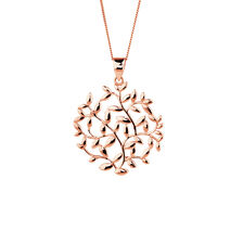 Olive Leaf Circle Pendant in 10ct Rose Gold