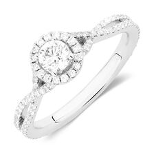 Michael Hill Designer Adagio Engagement Ring with 0.79 Carat TW of Diamonds in 14kt White Gold