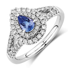 Michael Hill Designer Ring with Tanzanite & 1/2 Carat TW of Diamonds in 14kt White & Rose Gold