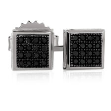 City Lights Stud Earrings with 1/10 Carat TW of Enhanced Black Diamonds in Sterling Silver