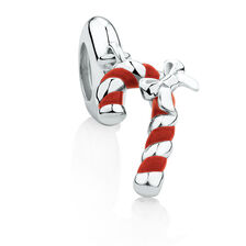 Candy Cane Dangle Charm with Red Enamel in Sterling Silver