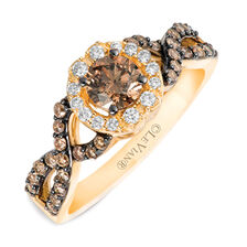 Le Vian Ring with 7/8 Carat TW of Chocolate & Vanilla Diamonds in 14kt Yellow Gold