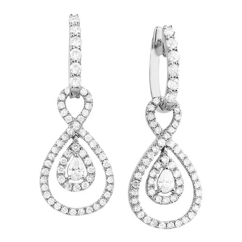 Drop Earrings with 1 1/5 Carat TW of Diamonds in 14kt White Gold