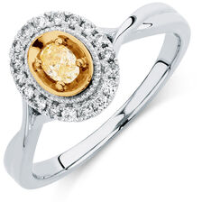 Engagement Ring with 1/3 Carat TW of White & Yellow Diamonds in 14ct White & Yellow Gold