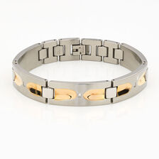Men's Diamond Set Bracelet in Silver & Rose Tone Stainless Steel