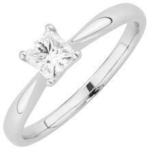 Evermore Colorless Solitaire Engagement Ring with a 1/2 Carat Diamond in Platinum