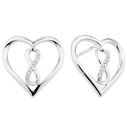 Infinitas Stud Earrings with 1/20 Carat TW of Diamonds in Sterling Silver