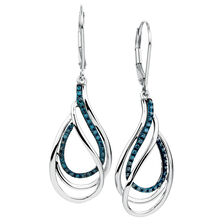 City Lights Drop Earrings with 1/5 Carat TW of Enhanced Blue Diamonds in Sterling Silver