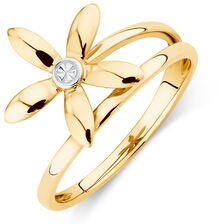 Flower Ring in 10ct Yellow & White Gold