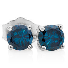 City Lights Stud Earrings with 1 Carat TW of Enhanced Blue Diamonds in 10kt White Gold