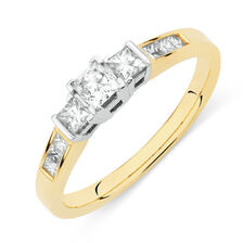 Three Stone Ring with 1/2 Carat TW of Diamonds in 18ct Yellow and White Gold