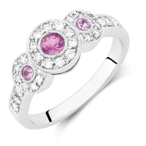 ring with pink sapphire 1 4 carat tw of diamonds in 10ct