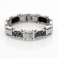 Online Exclusive - Men's Patterned Bracelet in Stainless Steel