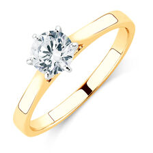 Solitaire Engagement Ring with a 0.60 Carat Diamond in 14ct Yellow & White Gold