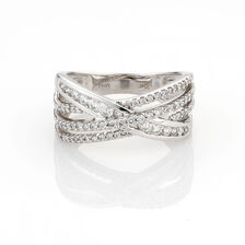 Online Exclusive - Crossover Ring with 1/2 Carat TW of Diamonds in 10ct White Gold