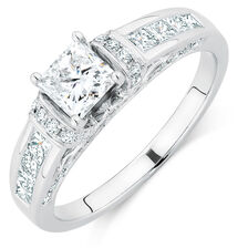 Ideal Cut Engagement Ring with 1 3/8 Carat TW of Diamonds in 14kt White Gold