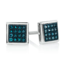 City Lights Stud Earrings with Enhanced Blue Diamonds in Sterling Silver