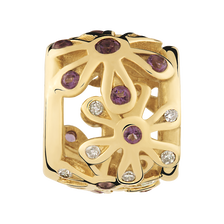 Amethyst & Diamond Set Flower Charm