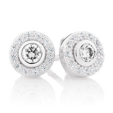 White Cubic Zirconia & Sterling Silver Stud Earrings with Circle Enhancers