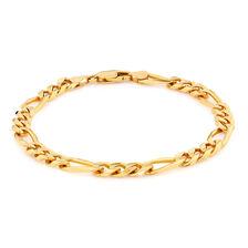 "23cm (9.5"") Men's Figaro Bracelet in 10ct Yellow Gold"