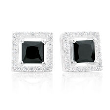 Black Cubic Zirconia & Sterling Silver Stud Earrings with Square Enhancers