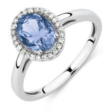 Ring with Tanzanite and 1/10 Carat TW of Diamonds  in 10kt White Gold