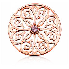 Patterned Coin Locket Insert with Pink Crystal in 10ct Rose Gold