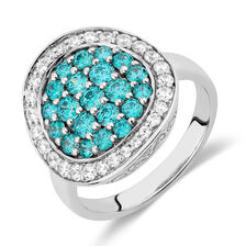 Ring with Mint Green Cubic Zirconias in Sterling Silver