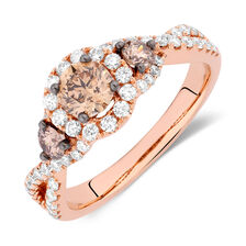 Engagement Ring with 1.30 Carat TW of White & Brown Diamonds in 14kt Rose Gold