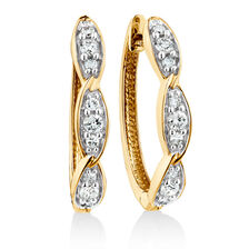 Twist Huggie Earrings with 1/4 Carat TW of Diamonds in 10ct Yellow Gold