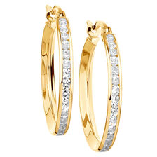 Hoop Earrings with Cubic Zirconia in 10ct Yellow Gold