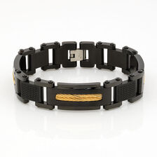 Men's Cable Bracelet in Black & Gold Tone Stainless Steel