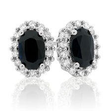 Stud Earrings with Sapphire & 1/5 Carat TW of Diamonds in 10kt White Gold