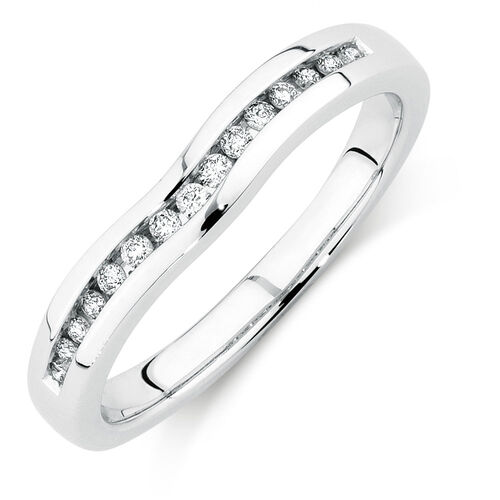Wedding Band with 0.15 Carat TW of Diamonds in 18ct White Gold