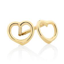 Open Heart Stud Earrings in 10ct Yellow Gold